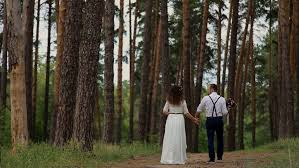 Wedding Backdrop Hd Wedding Couple Taking A Walk In The Park Stock Footage Video