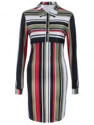 green l striped long sleeve shirt shift dress rosegal com