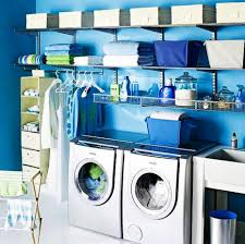decorating fresh laundry room with aqua wall paint color mixed