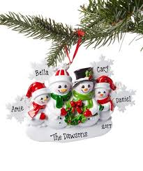 treasured ornaments snowflakes four snowman family personalized