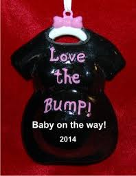 the baby bump black ornament personalized new