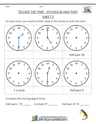 Sign Language Printable Worksheets Telling Time Worksheets O U0027clock And Half Past