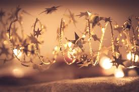 golden shining garland with sparkling lights in