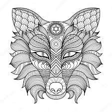 detail zentangle fox coloring page u2014 stock vector somjaicindy