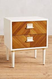 brown and brass metal inlay nightstand