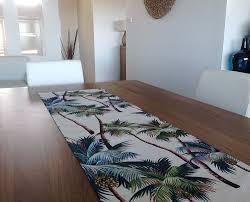 table runner hawaiian palms tropical coastal classic sage