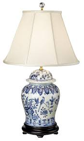 Blue Table Lamp English Floral Hand Painted Porcelain Ginger Jar Table Lamp