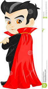 funny cartoon little vampire boy wearing halloween costume stock