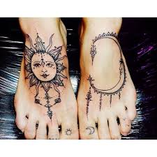 collection of 25 sun and moon tattoos on thumbs