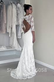 robe de mari e dentelle sirene dos ouvert dentelle 3 4 manches sirène robes de mariée boho