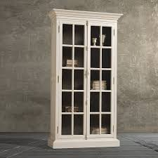 furniture white wooden tall book cabinet with glas door and five