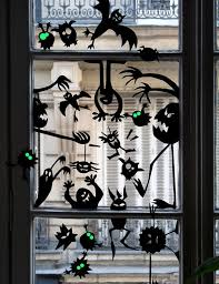 scary black halloween windows