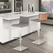 stainless steel bar stools with backs café adjustable brushed stainless steel barstool in gray pu with