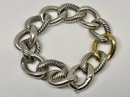 gold tone chain link bracelet images David yurman sterling silver 18k gold two tone curb chain link jpg