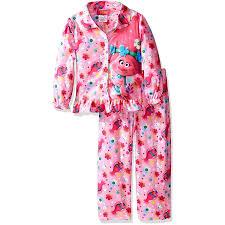 amazon com trolls poppy girls flannel coat style pajamas