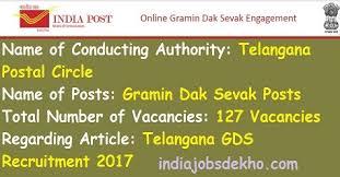 appost in telangana gds recruitment 2017 127 gramin dak sevak posts