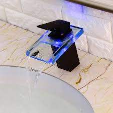 fun led clear glass waterfall 1 hole 1 handle bathroom sink faucet