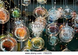 tree ornaments for sale in open air market stock photo