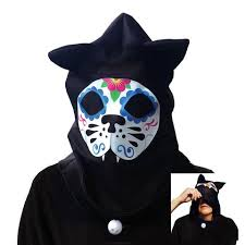Cat Hat Halloween Costume Dead Sugar Skull Cat Hood Halloween Costume