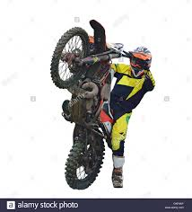 motocross bike photos rider on motocross bike on the back wheel is isolated on a white