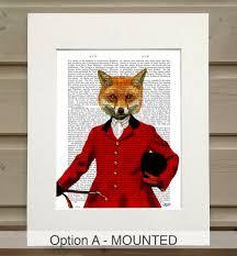 Fox Home Decor by Fox Print Fox Hunter Portrait By Fabfunky Home Decor