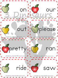Words Cards Apple Themed Sight Word Cards 3 Dinosaurs