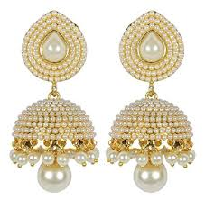 ear ring photo buy shining white pearl jhumki earring for women