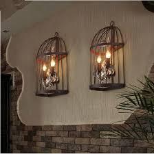 Bird Sconce Vintage Industrial Bird Cage Crystal Wall Sconce Lamp Retro Rustic