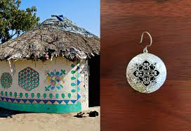 stunning long kutch inspired jali and hammer finish drops earrings