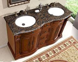 Bathroom Vanities Granite Top Silkroad 55 Bathroom Vanity Brown Granite Top White Sinks
