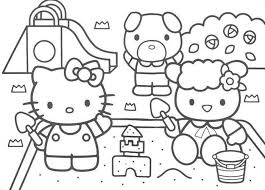 hello kitty coloring pages of sand castle free coloring pages