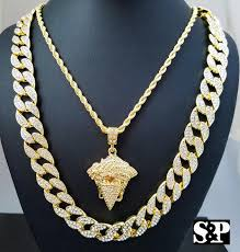 new necklace chain images New men 39 s full iced out cuban chain masked thug medusa pendant neckl jpg