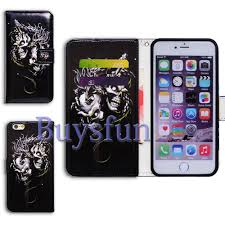 bcov white skull dragon stand wallet leather cover case for iphone