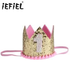 number one headband iefiel boys silver birthday hat girs gold pink princess