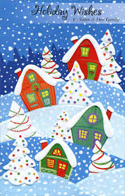 homes snowy hill sister christmas card freedom