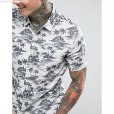 allsaints regular fit sleeve shirt with palm tree print ao11ow5w