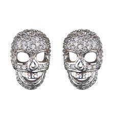 skull stud earrings neta s silvertone pave cz skull stud earrings
