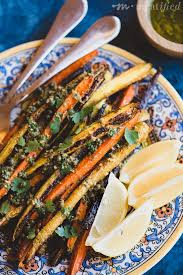 roasted carrots with green olive dressing meatified