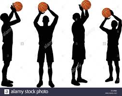 eps 10 vector basketball players silhouette collection in free