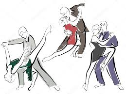 sketches of dancing couples in line style u2014 stock vector vertyr