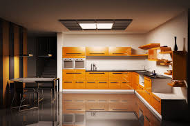 orange color kitchen design