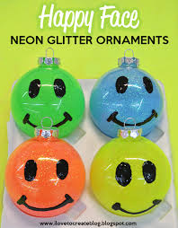 ilovetocreate happy neon glitter ornaments diy