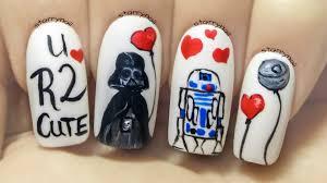 star wars on valentine u0027s day freehand nail art tutorial youtube