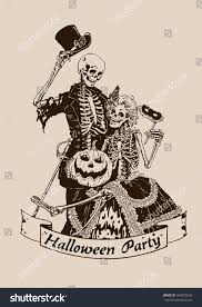 vintage skeletons pumpkin halloween poster party stock vector
