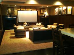 Home Theatre Wall Decor Black Leather Seats On Khaki Carpet Connected By Dark Grey Wall