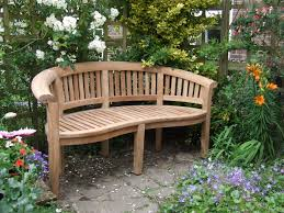 decorations natural look wooden curved backseat garden bench on