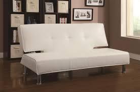 White Leather Sofa Bed Adjustable Armless Sofa Bed Big City Futon