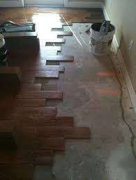 i like this look on stairs with porcelain flooring that looks like