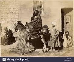 veiled arab woman on donkey egypt albumen print circa 1880