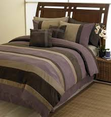Plum Bed Set Plum Chocolate And Camel Jacaranda Striped Microsuede 6 Pc Luxury